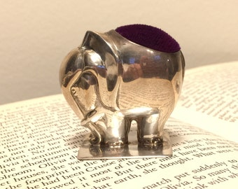 Antique Solid Sterling Silver Elephant Pin Cushion