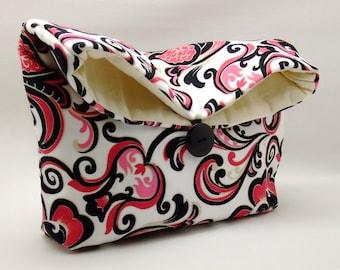 Foldover clutch, Fold over bag, clutch purse, evening clutch, wedding purse, bridesmaid gifts - Peony (Ref. FC43)