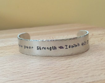 Men's bracelets, mens bracelet, personalized men's bracelet/ hand stamped bracelet, aluminum cuff/ silver/ renew your strength/ customize