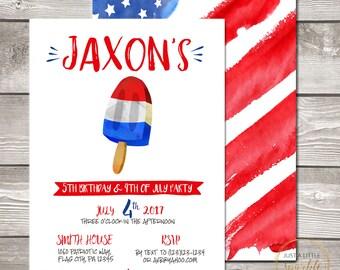 Popsicle birthday invitation, digital fourth of july invitation, Fourth of July invite, 4th of July invite, 4TH OF July Birthday invite
