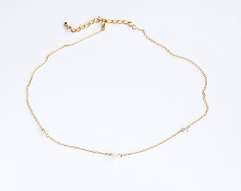 Tri-Diamond Necklace - Gold Minimal Modern Bridesmaid Necklace Jewelry Good for the Soule