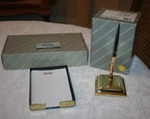 Vintage Baldwin Brass Single Pen Stand and Memo Tray Paper Note Tray Estate Desk Accessories