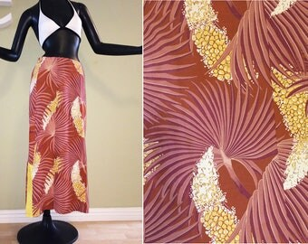 "Vintage 40s 50s Rayon Hawaiian Maxi Skirt 1940s 1950s Palm Frond Rockabilly Tiki Oasis Hukilau  upcycled from Asian Kimono Dress 28"" waist"