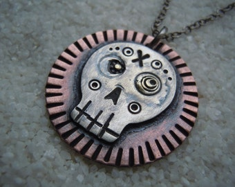 "Day of the Dead Necklace Sugar Skull Jewelry Skull Pendant, 19"" chain"