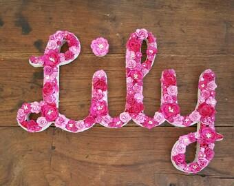 Flower Name Nursery Art, Flower Letters, Pink Flowers Wall Art, Nursery Decor, Girl's Bedroom, Gift for Her, Name Art, Baby Room,