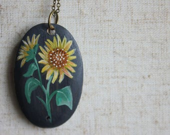 Oval Sunflower Necklace - Hand painted pendant