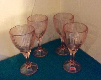 Fostoria Monet Pink Wine Stems Set of Four Abx