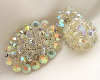 Vintage Brooch and Earrings Retro 1950s Jewelry  -- Earrings Signed Lisner