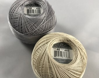 Lizbeth Tatting Thread - Ecru/Silver Neutral TWO Pack (Colors 605 and 603) - Size 40 - Your Choice of Amount