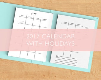 2017 Yearly Calendar with Holidays