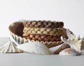 Braided Leather Bracelet Trio / Warm Sunset