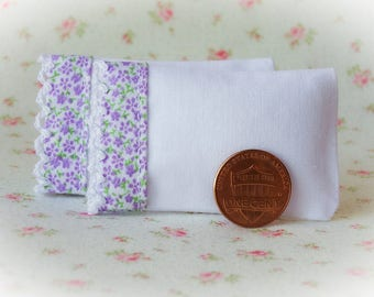 Set of 2 White Bed Pillows with purple floral cotton and lace trim - 1:12 scale, miniature pillows