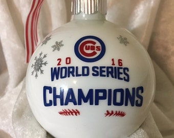 Chicago Cubs 2016 World Series Champions  White Christmas Ornament