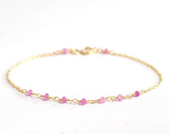 18K Gold. Pink Sapphire Bracelet in 18KYG , Natural Sapphire Delicate Gold Bracelet, September Birthstone Jewelry, Gift for Her,