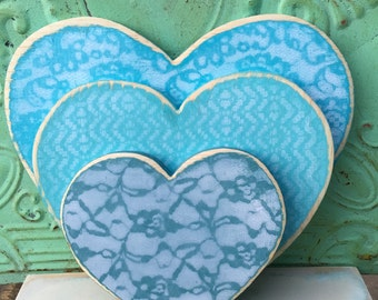 Set of Three Stacked Wooden Hearts, Mantle Heart Set, Home Decor Hearts