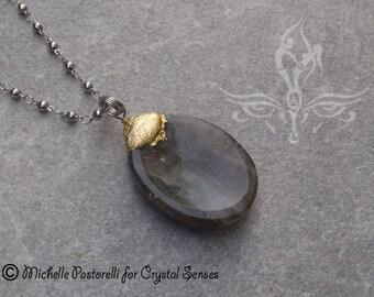 Labradorite Worry Stone Pendant (WSPLB0007)