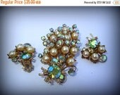 ON SALE Vintage Rhinestones and Pearls Jewelry Set Light Blue Aurora Borealis Prong Set and Multi Dimensional Brooch and Earrings