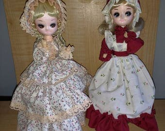 "Pair of Vintage Bradley Dolls Lot of 2 12"" With Stands Agatha and Lisa Big Eyed Dolls"