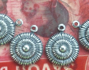 FOUR Boho Brass Dot Charms, Belly Dancing, Gypsy Jewelry, Sterling Silver Ox