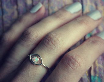 Evil eye ring, sterling silver ring, stacking ring, Opal ring, evil eye jewelry, opal stone