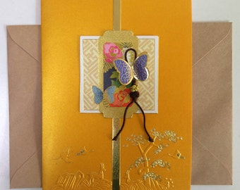 Butterfly and Knot Charm on a Yellow Card  - Korean Traditional Design