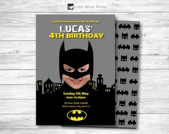 Batman invitation, Batman Printable, batman birthday, batman party, Batman theme, superhero invitation, Batman invite, superhero party