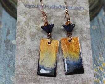 Rustic Earrings, Boho Earrings, Rustic Boho Earrings, Artisan Copper Earrings, Hand Painted, Enamel Like, Enamel Earrings, Fire and Water