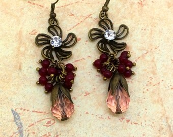 Romantic Rose Dangle Earrings Floral Earrings  Crystal Earrings  item 754