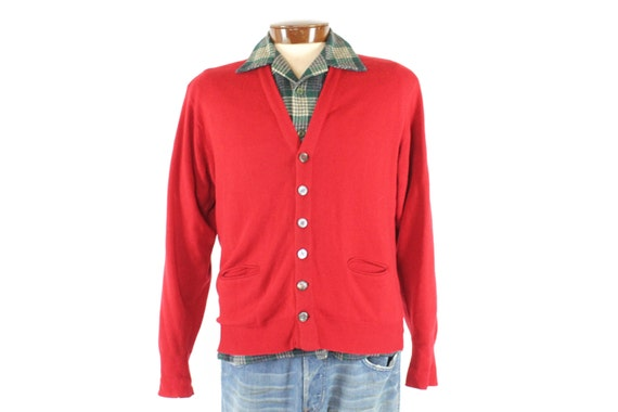 Vintage 50s Cashmere Cardigan Sweater Red Button Up Mens Size