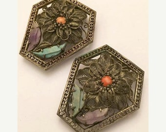 Antique Spun Silver Chinese Export Dress Clips