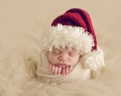 Newborn Infant Santa Hat - Soft Sparkle Knit Photo Prop