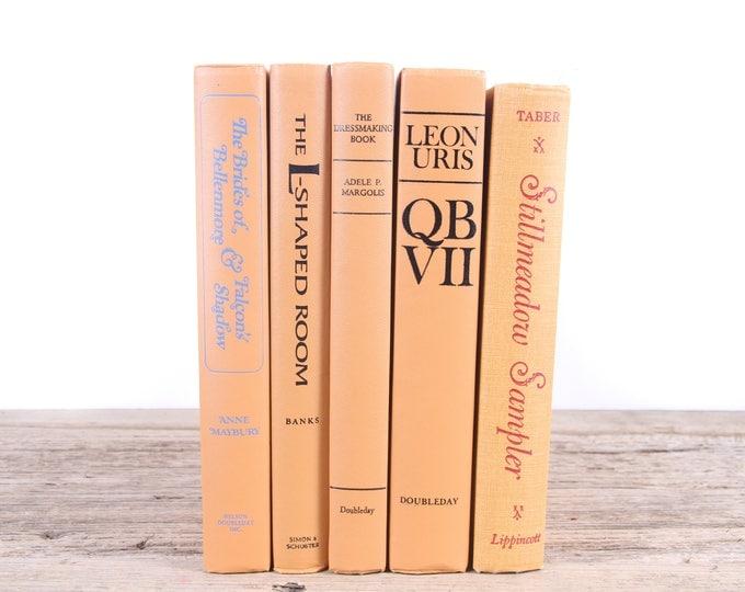 Orange Decorative Books / Orange Books / Old Books / Vintage Books / Antique Books Vintage Mixed Book Set / Books by Color for Decor