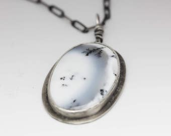 Dendritic Agate Pendant, Agate & Sterling Necklace, Agate Pendant, Black and White, Gift for Her