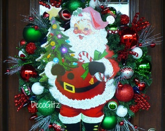 RETRO SANTA CLAUS Christmas Wreath with Sparking Lights