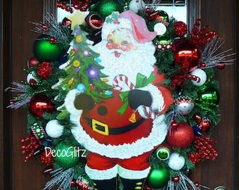 RETRO SANTA CLAUS Christmas Wreath with Sparking Lights