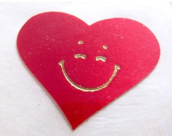 ON SALE Rare Vintage Satin Scarlet Heart with Gold Embossed Smiley Face Sticker - 80's Puffy Fabric Crimson