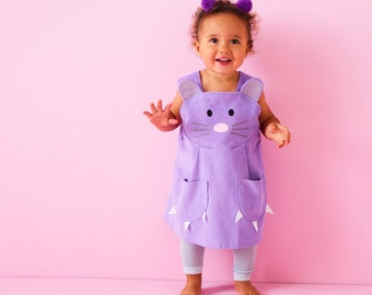Baby Mouse dress up play dress in soft lavender cord with glitter ears