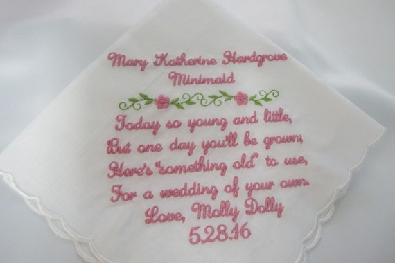 Baptismal Embroidered Handkerchief to be used as a Bride