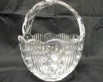Vintage Cut Glass Basket