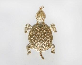 Turtle Pendant. Gold Pendant. Statement Pendant. Terrapin Jewelry. 1970s Boho Jewelry. Articulated Pendant. Turtle Jewelry. 70s Jewelry.