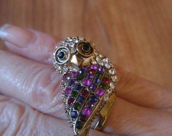 90s Rhinestone Owl ring