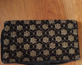 40s black velvet and metallic embroidered Indian clutch bag