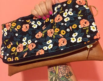 Painted Black floral Rifle Paper co. Crossbody