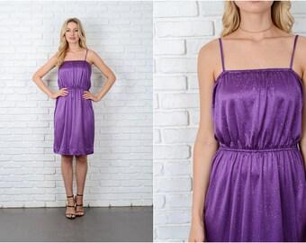 Vintage 70s 80s Purple Dress Glitter Polka Dot Mini Retro Small medium S M 8975