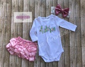 Baby bodysuit, Lilly Pulitzer, personalized name bodysuit, shower gift, baby girl, newborn bodysuit, custom baby, all in one, ruffle bloomer