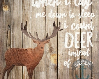 Count Deer Not Sheep | Rustic Cabin Hunting Nursery Wall Art At Checkout, Choose Print, Framed or Canvas