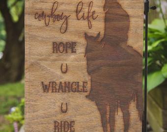 Cowboy Life | Rope Wrangle Ride | House Flag or Flag Lawn Decor | Garden or Large House Flag | Size via Dropdown | Convo for Custom