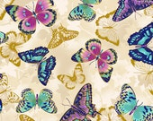 Metallic Gold Butterflies on Beige from Paintbrush Studio's Flights of Fancy Collection