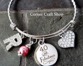 40 and FABULOUS Birthday Personalized  Stainless Steel  Bangle Bracelet  Initial Pearl Bead  Rhinestone Heart Charm Gift Friend