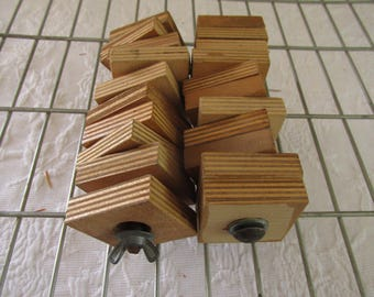 Vintage Hand Crafted Square Blocks/Children's Carpentry Class/Experiential Learning Tool/Ten Blocks Rod Mounted/Craft Supply/Art Assemblage